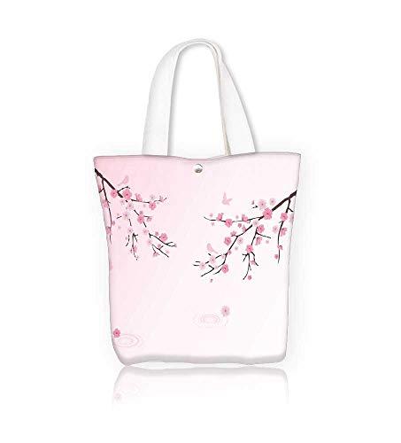 Princess Circle Handbag - Ladies canvas tote bag cherry blossom with birds and water circles reusable shopping bag zipper handbag Print Design W16.5xH14xD7 INCH