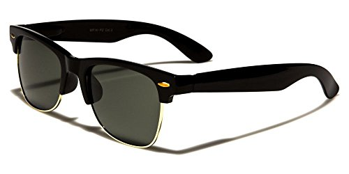 Black W Gold Polarized Retro Anti Glar Sunglasses Men Women Vintage Designer Metal Half - Frames 666