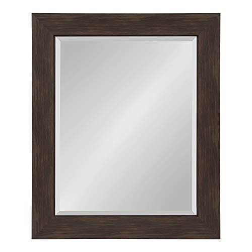 Kate and Laurel Boardwalk Framed Beveled Mirror 28.5x34.5 inches, Walnut Brown