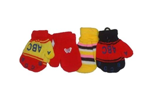 Set of Four Pairs of Magic Stress Gita Mittens for Infants Ages 0-12 Months