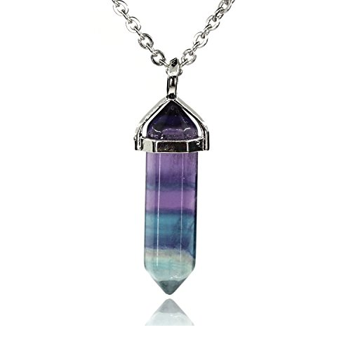 Amandastone Rainbow Fluorite Gemstone Hexagonal Pointed Reiki Chakra Pendant Necklace 20