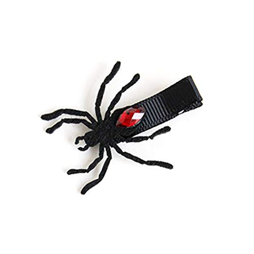 Kimnny Hair Clip, Girl Vintage Gothic Black Spider Hair Clip Red Rhinestone Decor Halloween Party Masquerade Cosplay Accessory