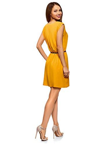 Viscose en Ultra Robe Jaune oodji 5200n Femme avec Ceinture vItqHHpwR
