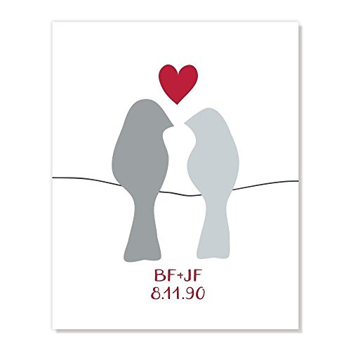 Personalized Love Birds Art Print,Silver 25th Anniversary Valentine Gift, Custom Names and Date