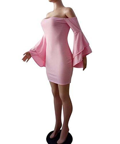 Mangas Coctel Color Trabajo XIAOXIAO del HEFEI de Cuello Las Atractivas Mujeres L de Envoltura de tamaño Las V del de la de Fiesta Rosado Vestido la BXOFp