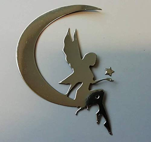 5 SILVER CARD FAIRY ON CRESCENT MOON FOR CRAFTING/CARD MAKING