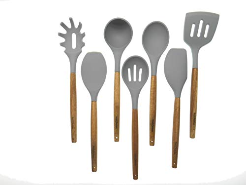 YayKitchen 7pc Silicone Utensil Cooking Set with Acacia Wood Handles -Light Gray Non Stick Cookware Utensils includes Slotted Spoon -Spatula -Ladle -Spoon -Spoonula -Slotted Turner -Spaghetti Spoon