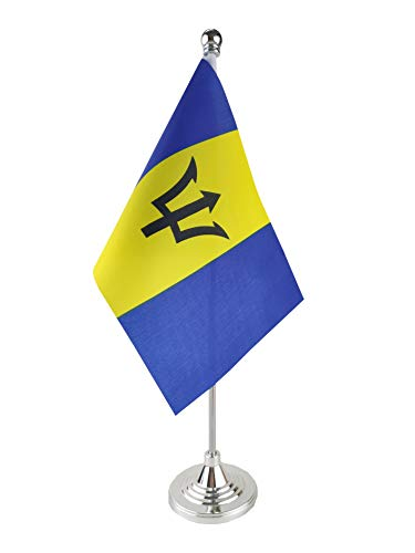 GentleGirl.USA Barbados Table Flag, Stick Small Mini Barbadians Flag Office Table Flag on Stand with Stand Base, International Festival Decoration,Barbadians Theme Party Decoration,Home Desk Decoratio