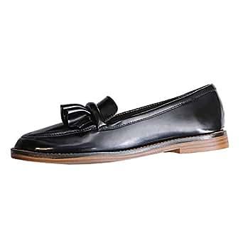 PLNXDM Zapatos Mocasines Para Mujer Zapatos Con Borla Plana Damas Casual Trabajo Escolar Zapatos Mocasines De Oficina: Amazon.es: Ropa y accesorios