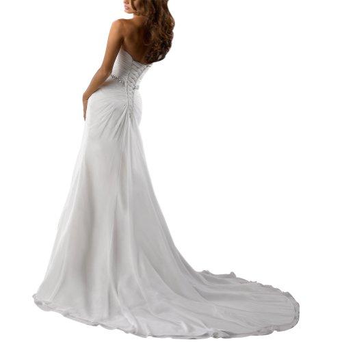 Chiffon BRIDE Hochzeitskleider GEORGE Weiß Brautkleider Kapelle Schatz Zug vBndWq1H