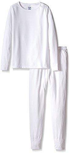 White Kids Pajamas (Fruit of the Loom Big Girls' Performance Thermal Underwear 2-Piece Set, Artic White,)
