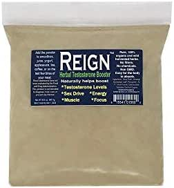 Reign Herbal Testosterone Booster | Muscle Growth, Gain, Energy, Weight Loss, Fat Burner | Sex Drive, Libido Enhancement | Organic Health, Vegan | Refill Bag, 10.5 oz