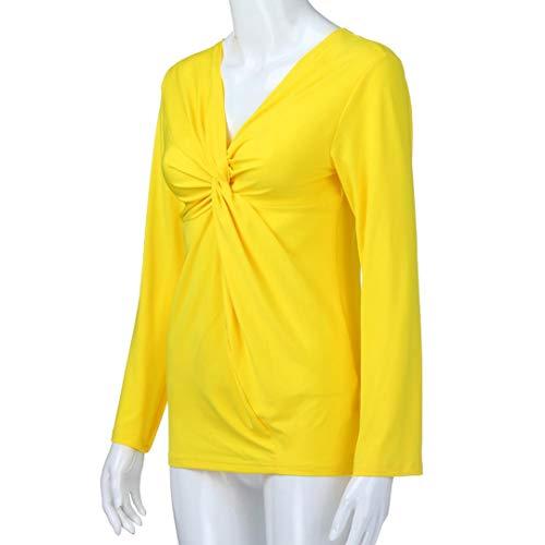 Longue Manches Shirt T Longues Top Sexy Femme Femmes Chic Fronc Body Mode Blouse Yellow Solide Femme Femme Femme Manche Chemisier Swag Polo Femme Shirt V Veste en Sweat Col Femme xZE4q4Rwt