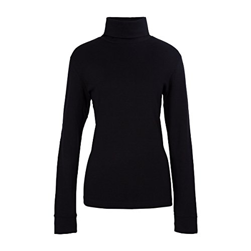 (Meister Women's Cotton/Blend Roll Neck Turtleneck Top, Large, Black)