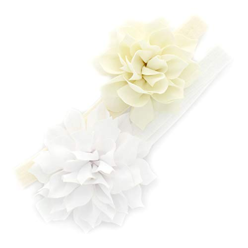 Bow Floral Ships Large (My Lello Baby Petal Flower Headbands Mixed Colors 2-Pack (Ivory/White))
