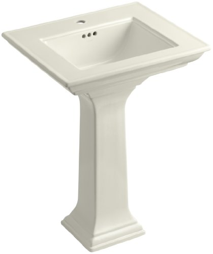 KOHLER K-2344-1-96 Memoirs Pedestal Bathroom Sink with Stately Design and Single-Hole Faucet Drilling, Biscuit ()
