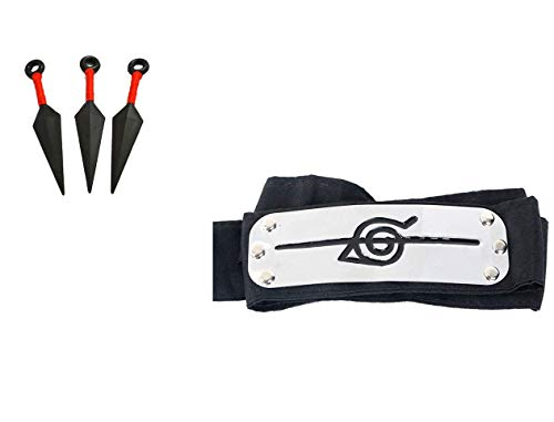 Geek Gear Naruto Ninja Village Headband Shinobi Cosplay Forehead Protector Free Kunai Set (Anti Leaf Village)