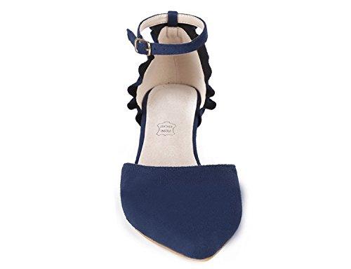 Scarpe Blu MaxMuxun col Cinturino a T con Donna Tacco Scuro Donna B66RWzrA5