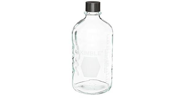 Con rosca de tornillo de vidrio tipo I de la Universidad de almacenamiento/ botellas de medios de comunicación con Negro fenólico ptfe-faced blanco ...