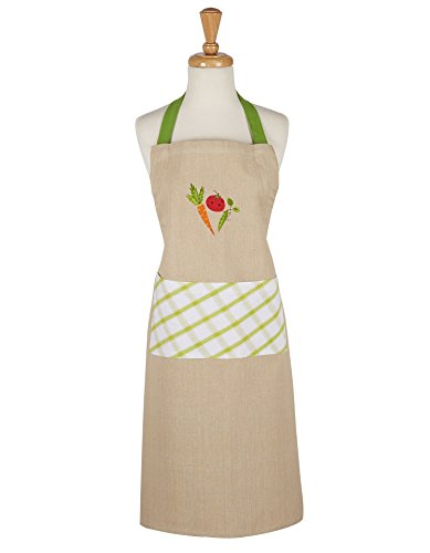 DII Cotton Adjustable Kitchen Apron with Extra Long Ties, 35 x 28'', Men and Women Bib Chef Apron for Cooking, Baking, Crafting, Gardening, BBQ-Veggie by DII