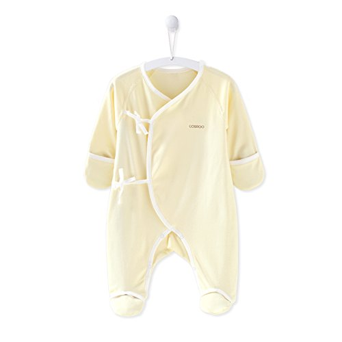 Yellow Footed Sleeper Pajamas - COBROO 100% Cotton Newborn Footies with Mitten Cuffs Soft Baby Footed Pajamas Unionsuit for Sleep and Play Yellow