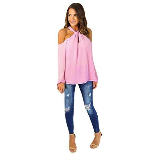 Mousseline lgant Tops Rose Femme Shirt paules Manches Printemps Automne Nues Haut Shirt Branch Costume Blouse Tee Hipster Fashion Dsinvolte Chic Unicolore Longues q5txx1E