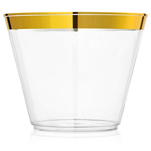 100 Gold Rimmed Plastic Cups 9 Oz Disposable Wine Cocktail Glasses | Clear Plastic Party Cups | Plastic Champagne Glasses | 50th Golden Birthday Party Celebration Decorations | Hard Reusable Tumblers