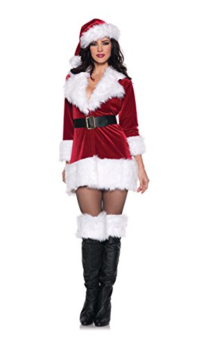 Santa Claus Costume Women (Women's Christmas Costumes - Secret Santa, Red/White/Black, Medium)