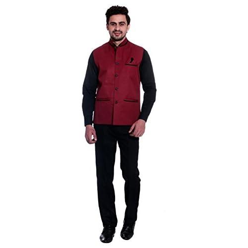 31uGggHL%2BsL. SS500  - BIS Creations Men's Solid Maroon Waistcoat