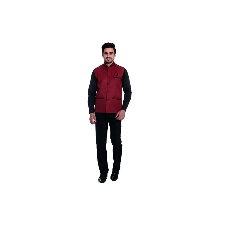 31uGggHL%2BsL. SS768  - BIS Creations Men's Solid Maroon Waistcoat