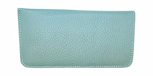 Teal Genuine Leather Eyeglass Case Soft - Padded Suede Interior - Made in USA by Real Leather Creations FBA629