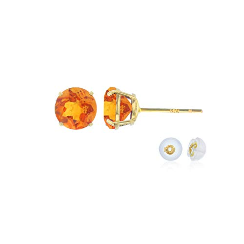 Genuine 14K Solid Yellow Gold 4mm Round Natural Madeira Citrine November Birthstone Stud Earrings