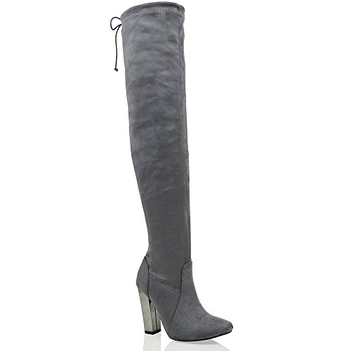 ESSEX GLAM Womens Over The Knee Chrome Heel Ladies Lace Stretch Thigh High Long Leg Boots Grey Faux Suede