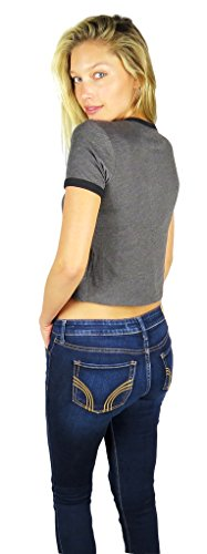 50bc2b54cbccb2 Nightmare Before Christmas Womens Ringer Crop Top X-large Grey Heather