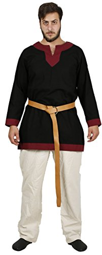 Costume Action Chart (ARTHUR Medieval Tunic by CALVINA COSTUMES - Formen - Made in TURKEY, M-Black)