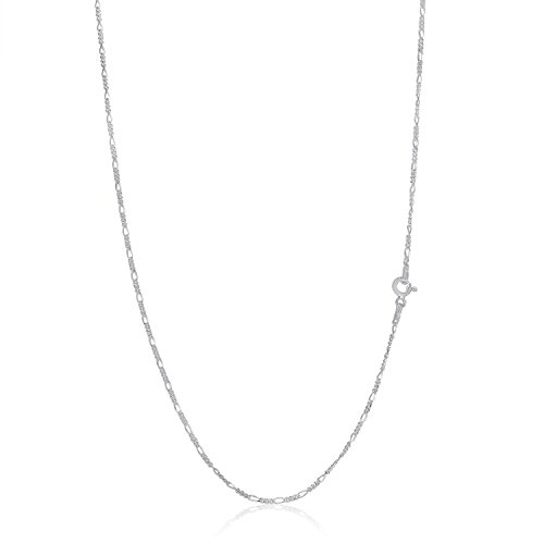 Kezef Creations Sterling Silver 1.5mm 16 inch Figaro Chain - Sterling 16 Chain Figaro Inch Silver