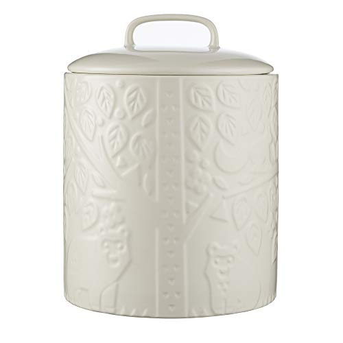 Mason Cash In the Forest Sugar Jar, Durable Stoneware Canister with Airtight Lid for Dry Goods, Intricate Embossed Design, 90-Fluid Ounce Capacity, Cream (Lid With Cookie Jar Ceramic)