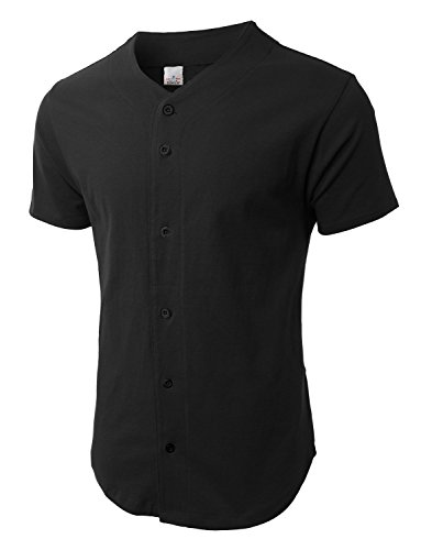 Mens Baseball Jersey Button Down T-shirts Plain Short Sleeve Fitted S-3xl (Large, Black)