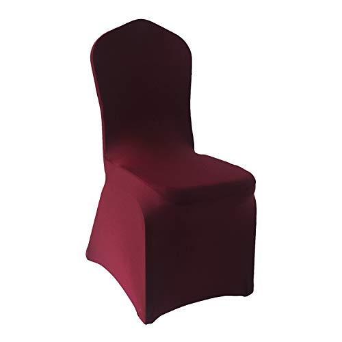 Burgundy Chair Cover - Burgundy Stretch Spandex Chair Covers - 12 pcs Wedding Party Dining Scuba Elastic Chair Covers (Burgundy, 12)
