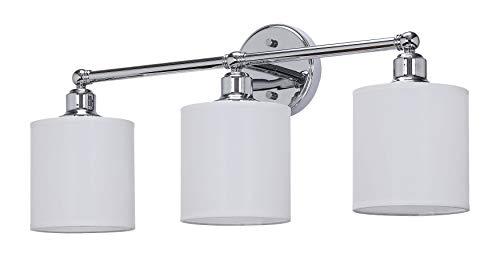 Ch Chrome Finish - XiNBEi Lighting Wall Light, Bathroom Vanity Light with Fabric Shade, 3 Light Wall Fixture Chrome Finish for Bathroom XB-W1214-3-CH