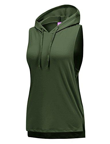 Regna X Womens hi-Neck Racerback dri fit Hooded Tank top Olive (Hi Neck Tank)
