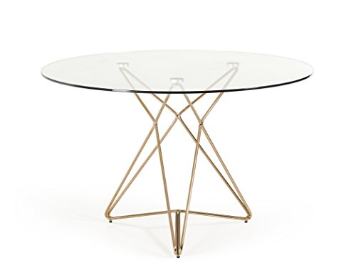Limari Home Isaora Collection 10mm Thick Tempered Clear Glass Round Dining Table with a Polished Stainless Steel Frame Finished in Rose Gold, Tempered Clear Glass/Rose Gold (Small Round Glass Dining Table)