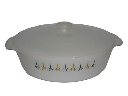 Vintage Anchor Hocking Fire-King Candle Glow Pattern 2 Quart Round Covered Casserole Baking Dish w/ Lid USA