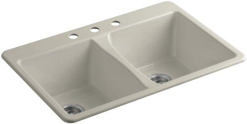 KOHLER K-5873-3-G9 Deerfield Top-Mount Double-Equal Bowl Kitchen Sink with 3 Faucet Holes, Sandbar ()