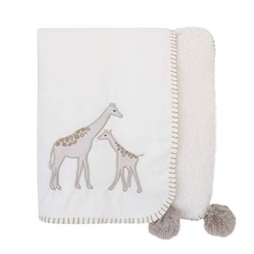 Appliqued Sherpa Baby Blanket Bedding - NoJo Serendipity - Ivory Giraffe Appliqued Plush Baby Blanket
