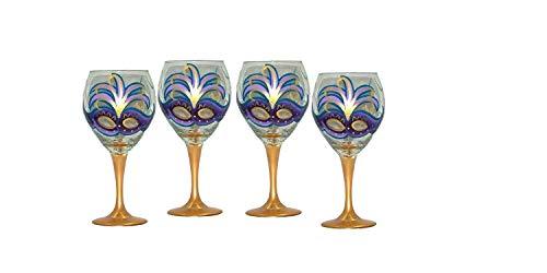 Mardi Gras Design Balloon Wine Glasses. Set of 4. Hand Painted