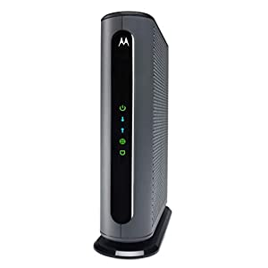 MOTOROLA 24×8 Cable Modem, Model MB7621, DOCSIS 3.0. Approved by Comcast Xfinity, Cox, Charter Spectrum, Time Warner Cable, and More. Downloads 1,000 Mbps Maximum (No WiFi)