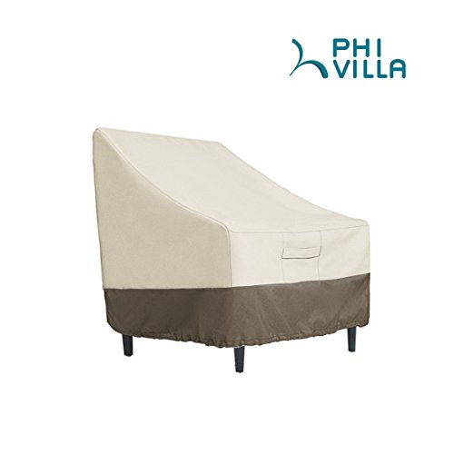 PHI VILLA Patio Lounge Chair/Club Chair Cover, Durable Waterproof Outdoor Furniture Cover, Large, L36