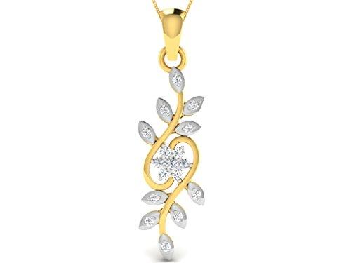 Or Jaune 14 ct Pendentifs Diamant en forme de Fleur, 0.18 Ct Diamant, GH-SI, 1.03 grammes.