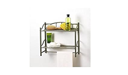 Bathroom Double Wall Shelf Organizer With Towel Bar Brushed Chrome